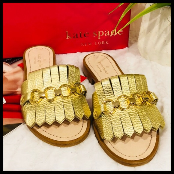 6f7d536a74e6 ✨NWB✨Gorgeous Golden Leather Brie Slide Sandals🤩. NWT. kate spade